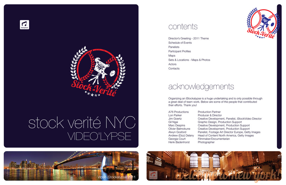 iStockphoto's New York City video conference, Stock Verité was designed with an American colour theme and dramatic images of iconic NYC locations to highlight the epic event.