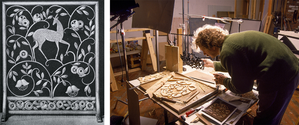 The motif was derived from an   early 20th century fireplace screen (left). A glass screen was dabbed with black paint to help control the shadows.