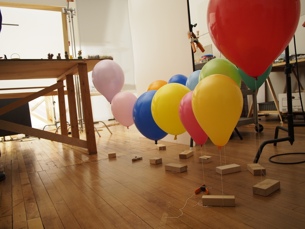 "Various balloons waiting their turn to be photographed for the ""Balloon Launcher"""