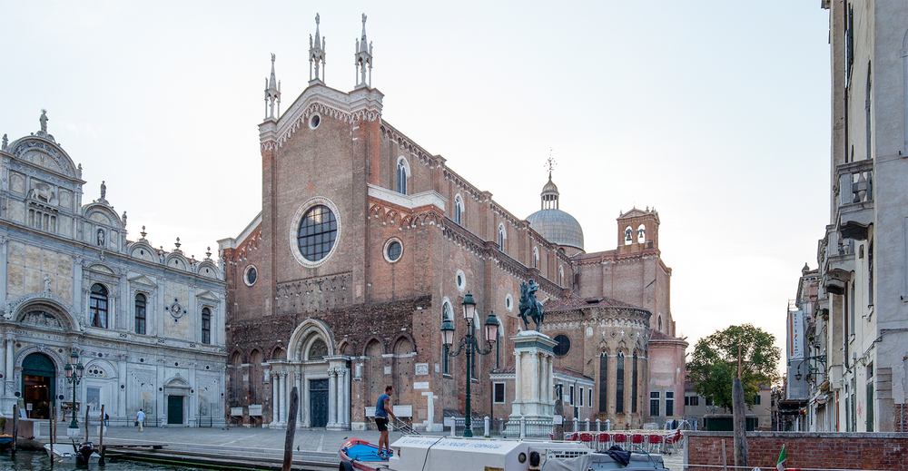 A three-picture, computer assisted panorama of the campo San Giovanni e Paolo.