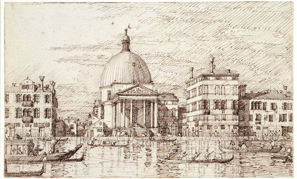 """A finished ink drawing by Canaletto that serves as a interim design from which engraving or painting can be based (there is no painting by Canaletto of this view). Note the note that the steps of the church are still unfinished, but people, water and boats and effects of light have been added. An engraving by Visentini survives, as does a sub par painting by a """"follower"""" of Canaletto."""