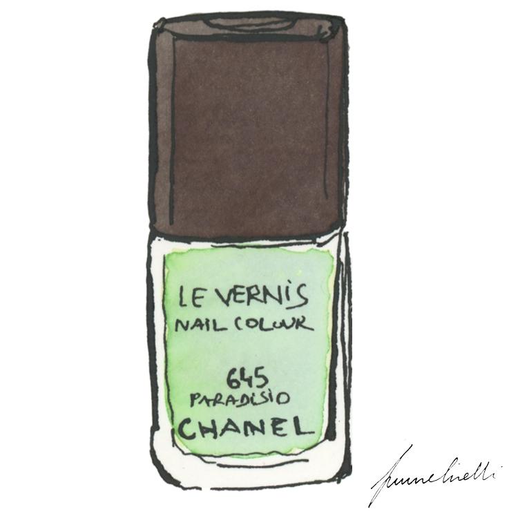 ce nouveau vernis Paradisio chez Chanel, d'un céladon clair nacré,est aussi séduisant qu'un bijou