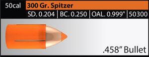 50 cal 300 Grain Spitzer Bullet