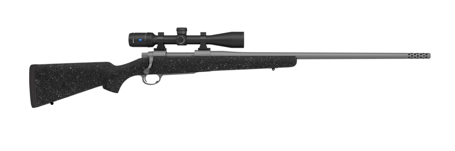 Pictured Above Model 48 Custom Rifle wtih a Kevlar / Carbon Stock in Obsidian Black,Muzzle Break and a Zeiss HD5 Conquest 3 - 15x42 Lock Plex Scope