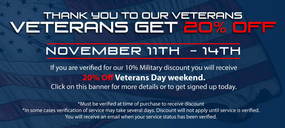 Banner on Upcoming Veterans Day Sale