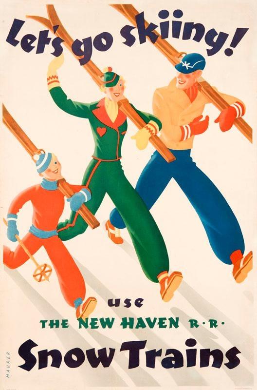Snow train poster, Sascha Maurer c. 1936