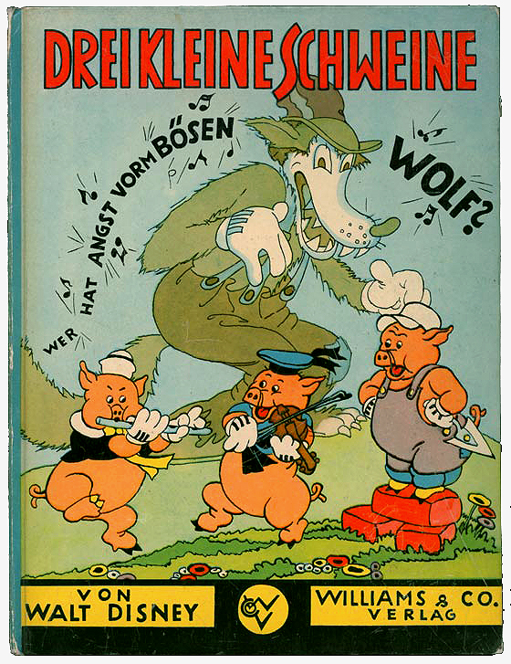 Drei kleine Schweine Williams Verlag, Berlin 1934, in almost (very hard to find) perfect condition; this is the first Geman version fo the famous American Disney . Also from children's book € 490.- ($ 613) via disneyana.de