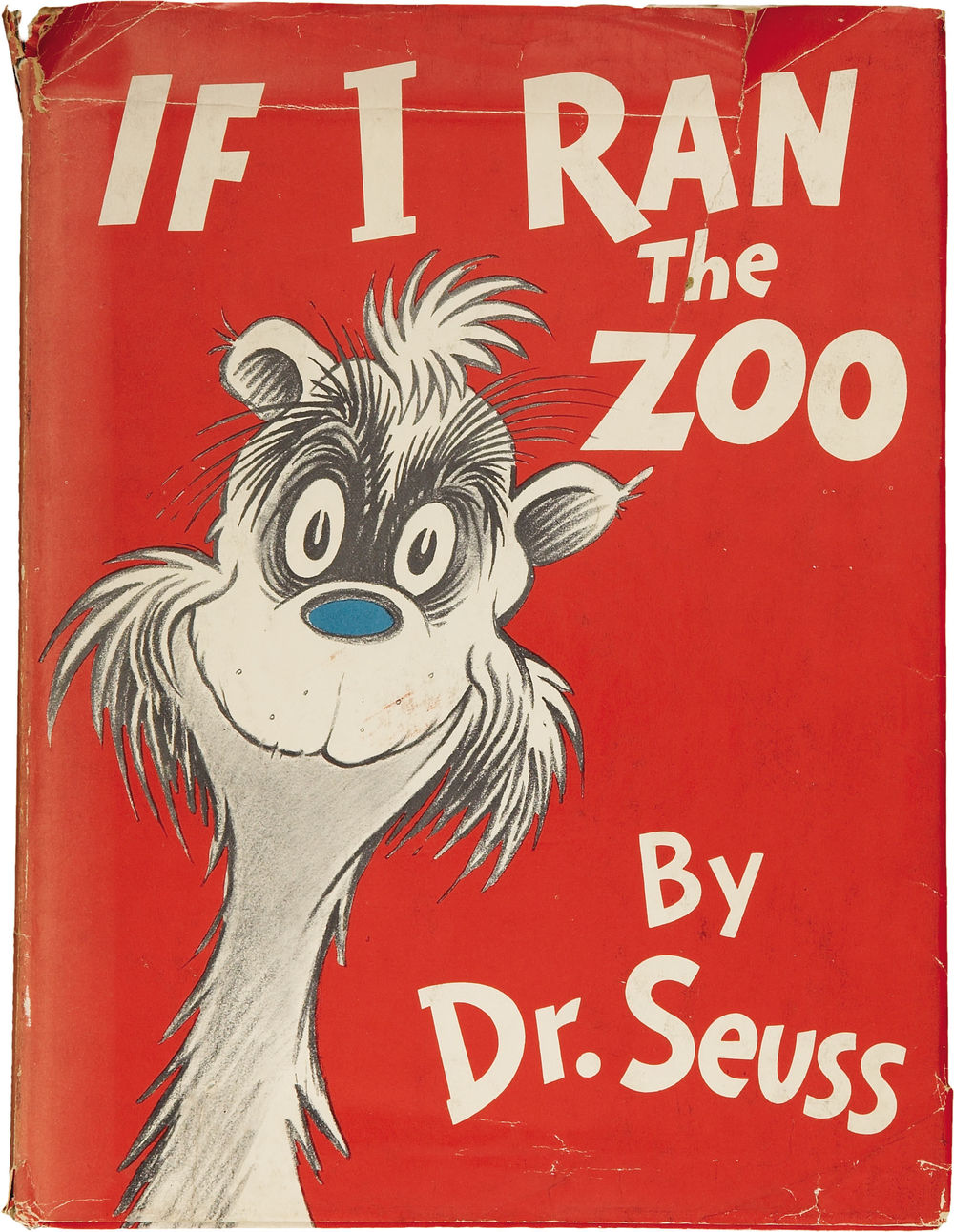 """I'll load up five boats with a family of Joats / Whose feet are like cows, but wear squirrelskin coats, / And sit like dogs, but have voices like goats— / Excepting they can't sing the very high notes."" If I Ran the Zoo. New York: Random House, [1950]. This one sold for $1314. on Heritage Auctions"