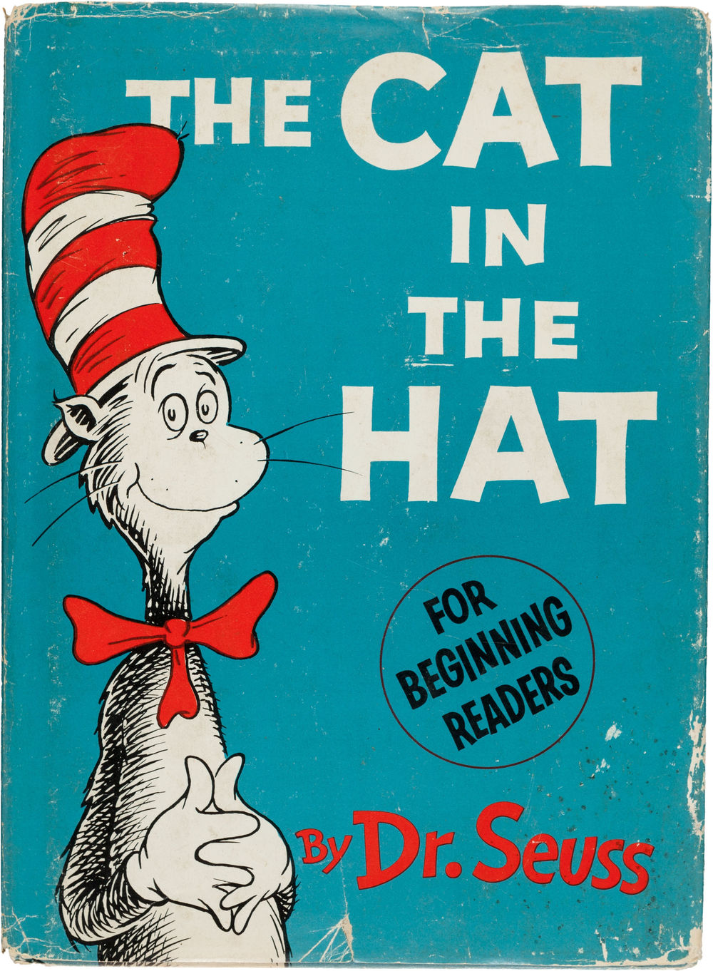 Dr. Seuss. The Cat in the Hat. [New York]: Random House, [1957]. First edition. Signed by the author in blue ballpoint via