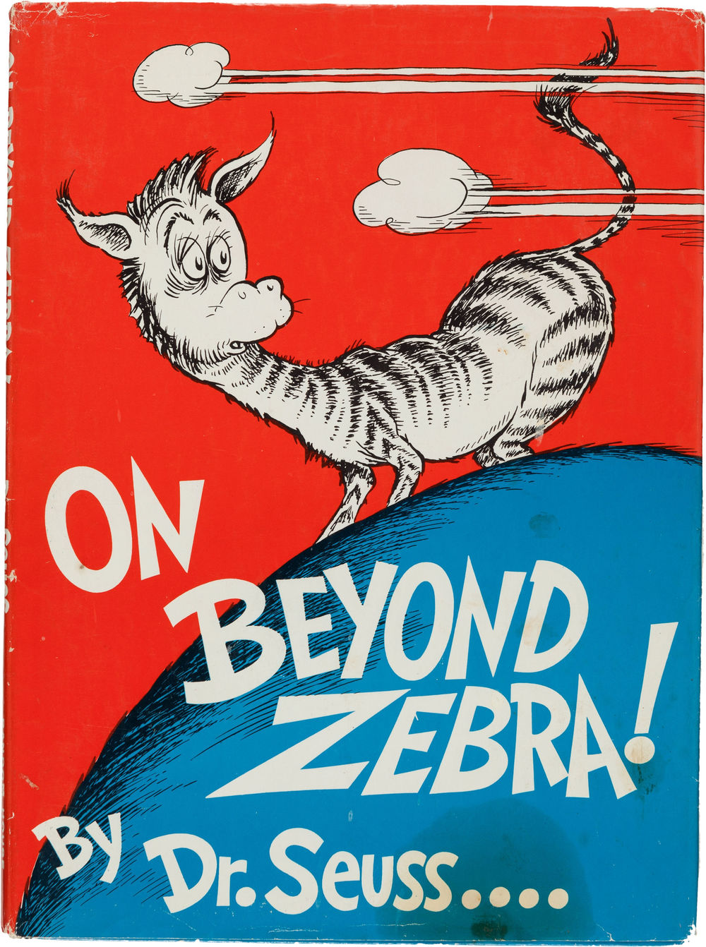 """In the places I go there are things that I see / That I never could spell if I stopped with the Z. / I'm telling you this 'cause you're one of my friends. / My alphabet starts where your alphabet ends!"" Dr. Seuss. On Beyond Zebra. New York: [1955]. First edition, first issue dust jacket. via"