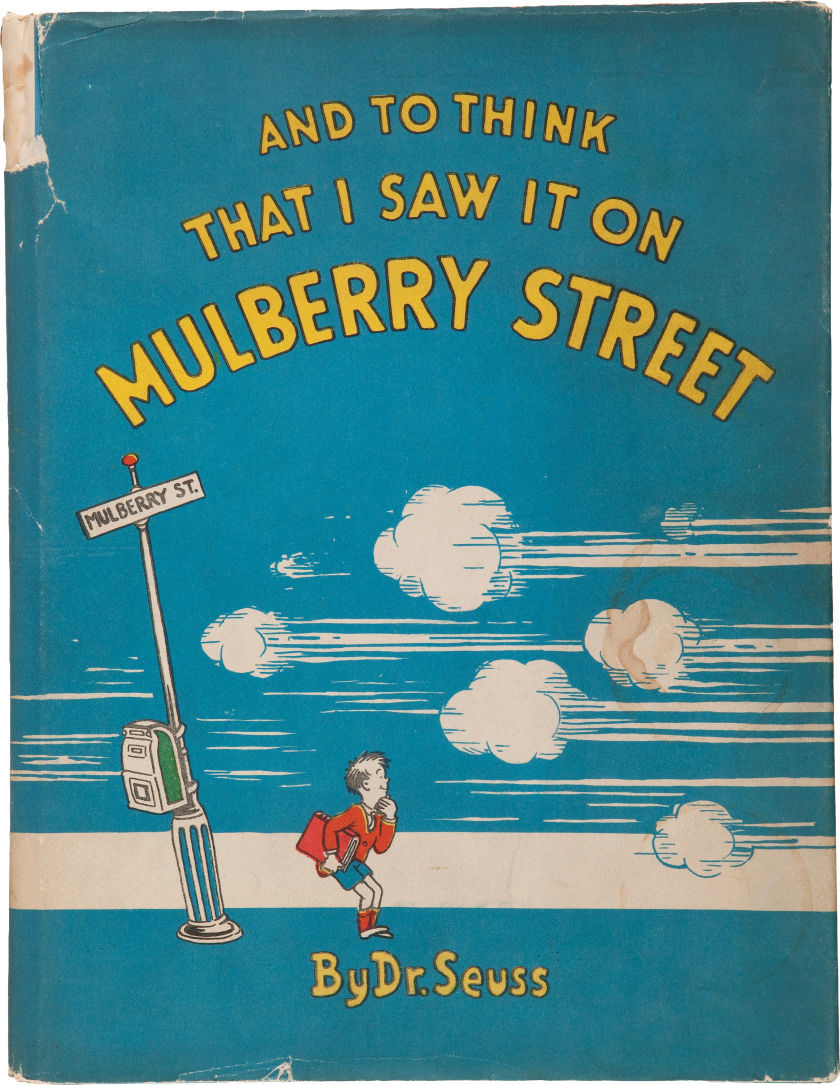 "Here's a really early one that I wasn't familiar with. ""And to Think That I Saw It on Mulberry Street"" New York: The Vanguard Press, 1937. sold for $1195 on Heritage Auctions"