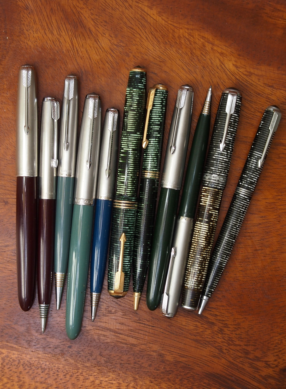 My collection of Parker 51 and vacuumatic pen & pencil sets. Somehow, I misplaced the cedar blue 51 fountain pen that I bought with the pencil.