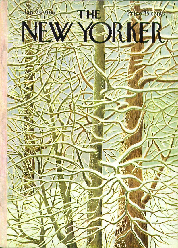 New Yorker cover Karasz snowdraped branches 1/29 1966