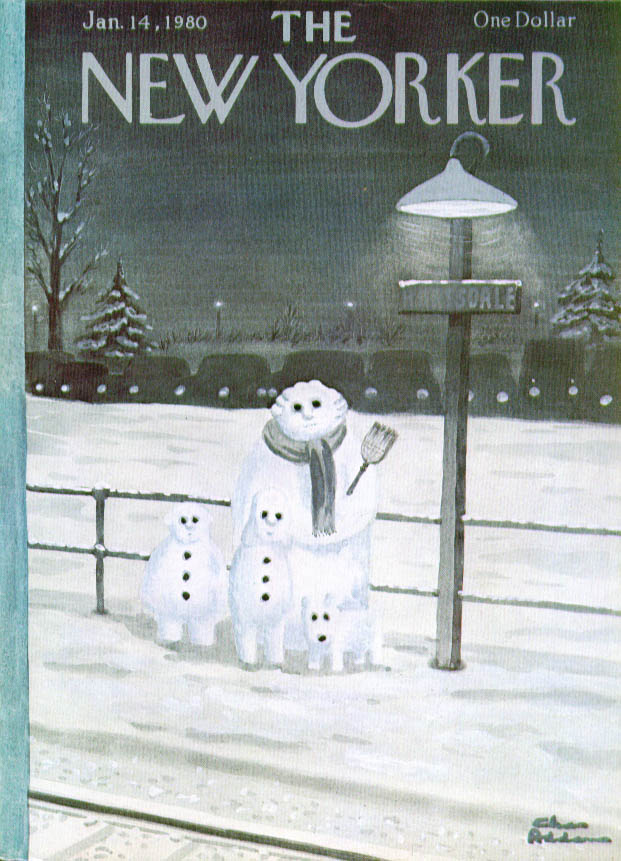 New Yorker cover Charles Addams snow family trackside 1/14 1980