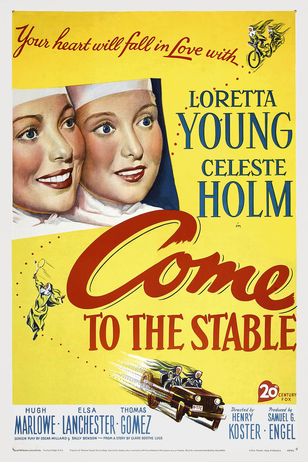 If you like starry-eyed nuns who believe they can get cynical rich guys to donate expensive land to charitable causes while speeding around in jeeps and competing in tennis matches (and lots of snowy scenes of Connecticut hillside locales) then Come to the Stable (1949) might be right up your alley.