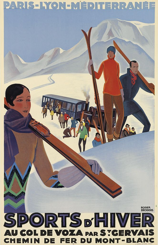 Roger Broders (1883-1953) Sports d'Hiver. Circa 1929. This one sold at auction for $10,000.