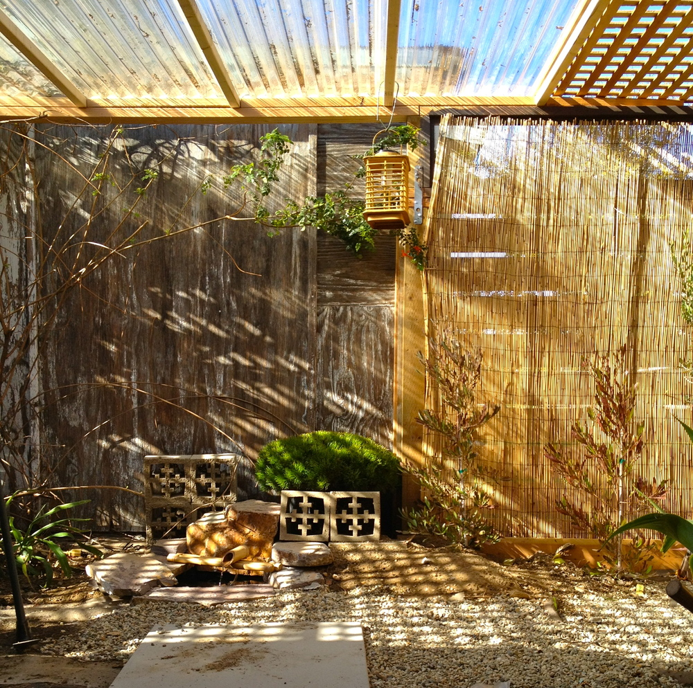Side yard converted into zen garden for kitties