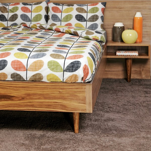 ...with this duvet cover by  Orla Kiely . $179-199. This bed is pretty great, too. It's not sourced, however...
