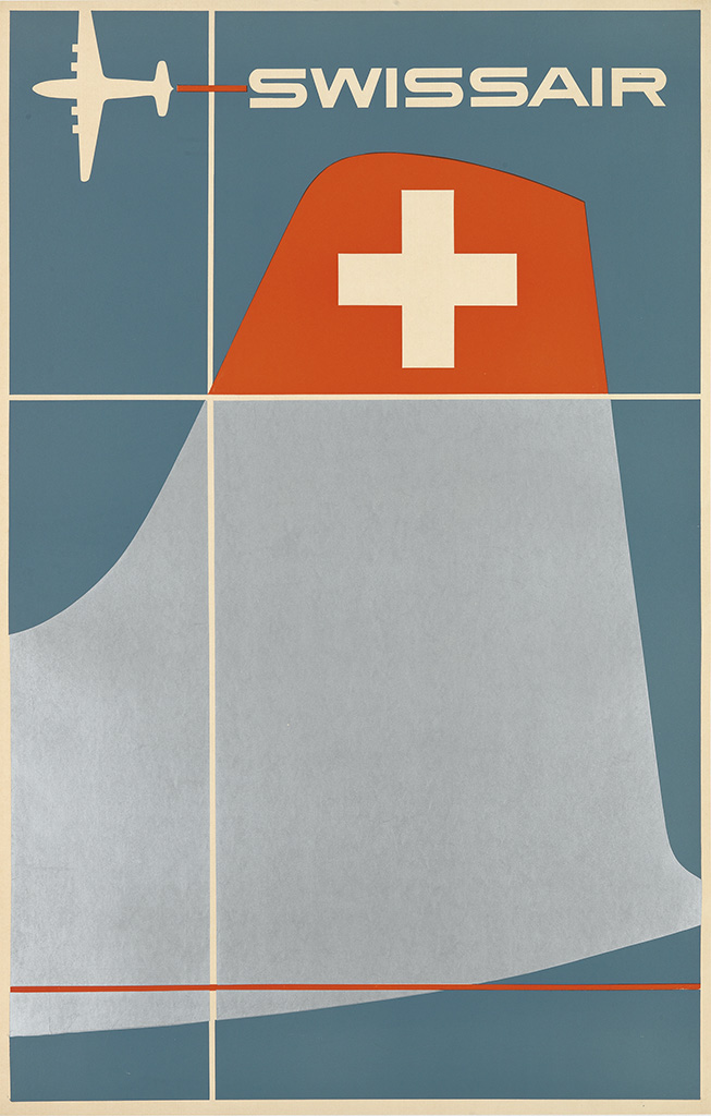 HENRI OTT (1919-?) SWISSAIR / BY SWISSAIR TO THE UNITED STATES / DOUGLAS DC - 6B. Circa 1952.