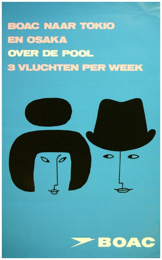 BOAC Travel poster, Tokyo > Osaka. Artist unidentified 1965