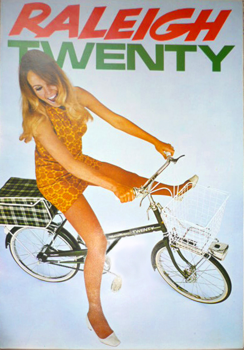 Ad for the Raleigh Twenty, the small-wheeled folder