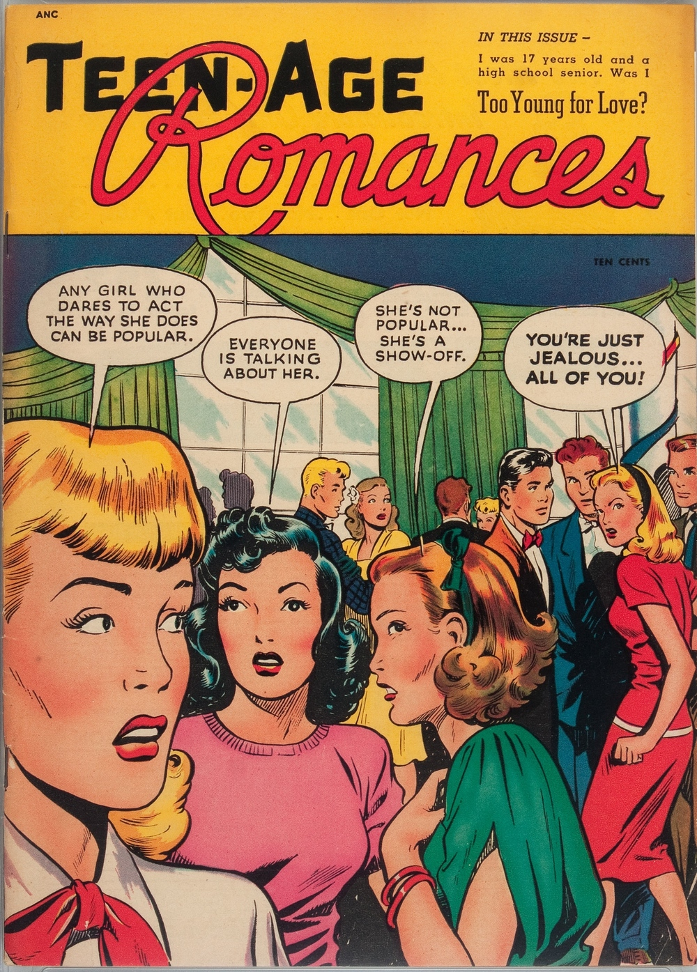 Too young for love? Teen-age Romances comic book 1949
