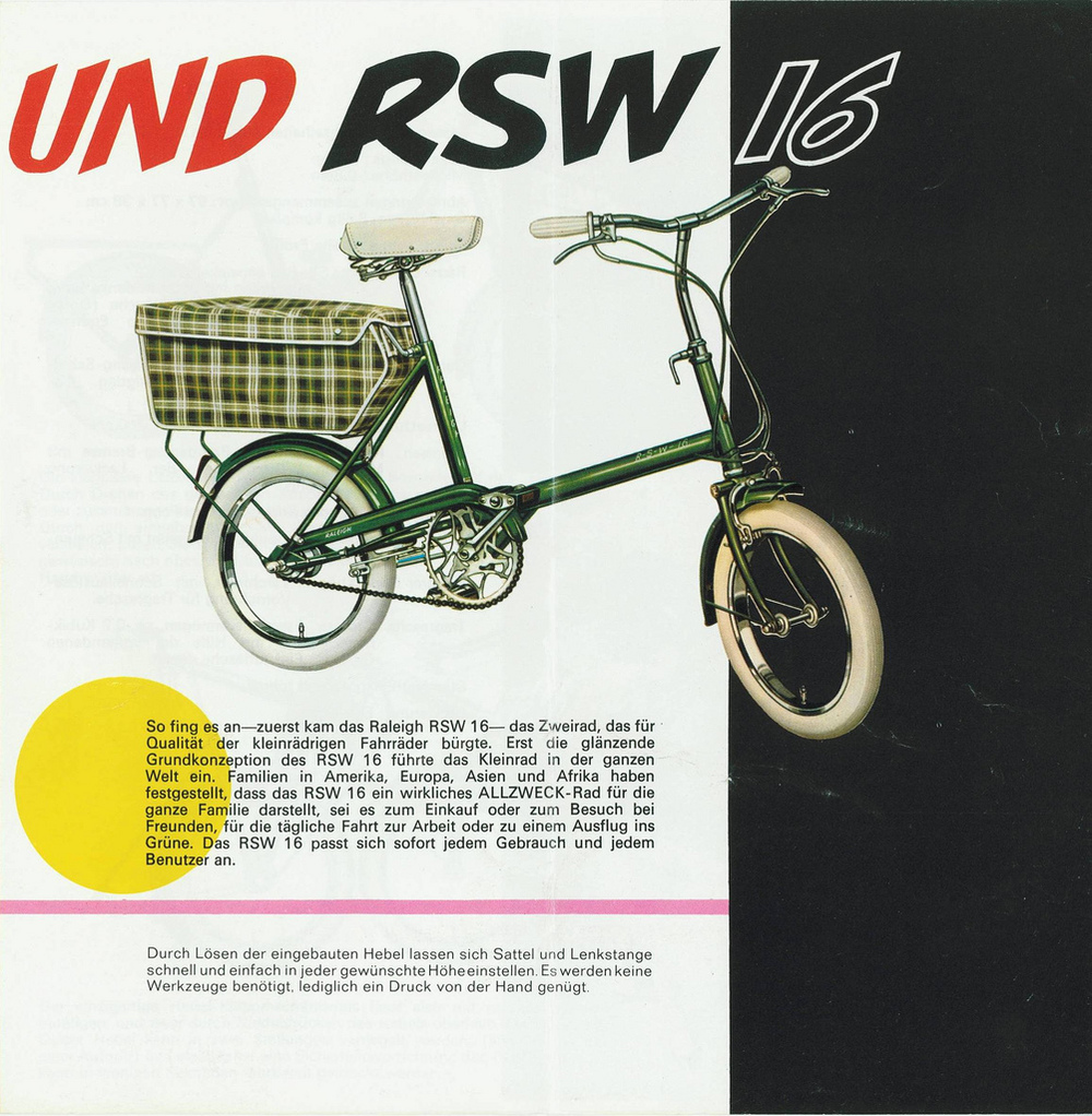 "Raleigh RSW, the shopper bike introduced to compete with the Moulton in the 60s The wheels are 16"" via"