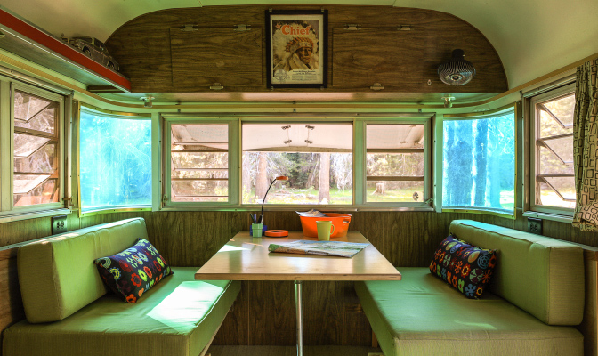 I have this thing about eating in a trailer banquette like this.
