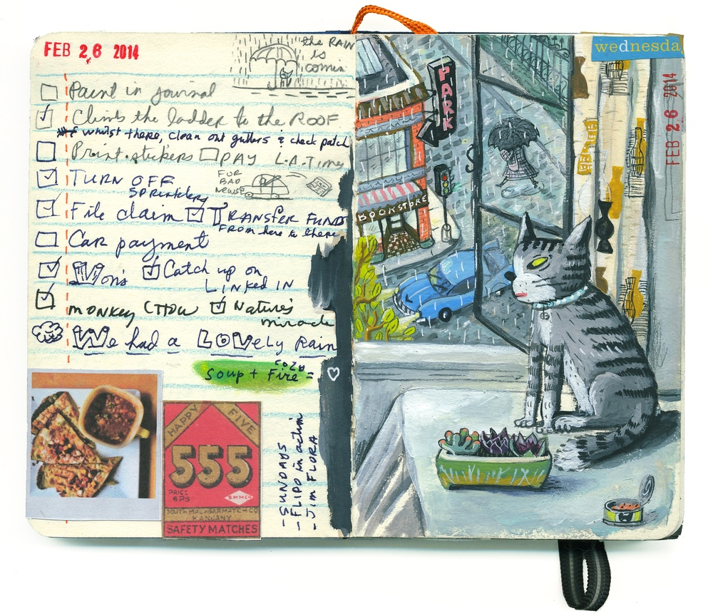... And painted in my journal on a day that brought some very welcome rain, at last.