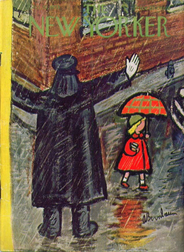 New Yorker cover | cop stopping traffic 10/10 1953 Abe Birnbaum via thejumpingfrog.com