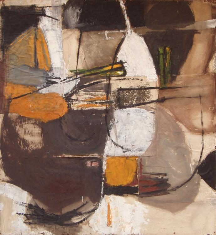 Douglas Swan | Winter Harbour 1958 Oil and collage