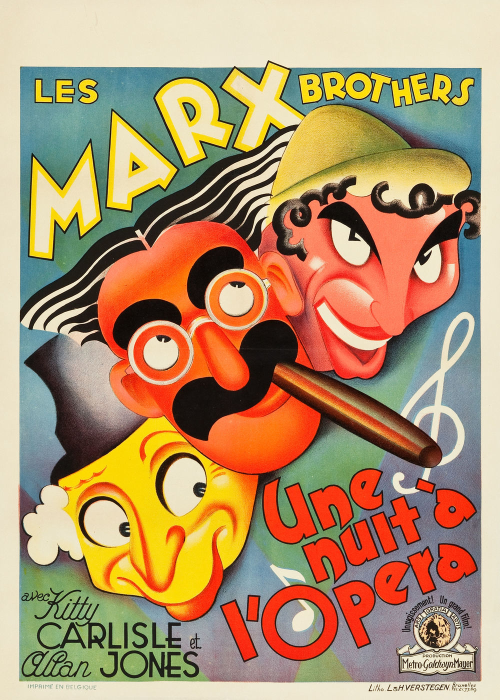 "A Night at the Opera (MGM, 1936). Pre-War Belgian (24"" X 33.5""). ""The Marx Brothers take aim at high society yet again in this, their first film for MGM after leaving Paramount. This comedy gem finds Groucho as the outrageous Otis B. Driftwood, companion to society matron Margaret Dumont. With the help of Chico and Harpo, he helps to smooth the path for opera singers Kitty Carlisle and Allan Jones to find love. The film showcases a slew of big musical productions, including ""Cosi, Cosa"" aboard the steamship. A rare find, this delightful poster features artwork in the style of Al Hirschfeld, brilliantly capturing the outrageous and zany nature of the film with its playful caricatures of the comedy trio. Prior to restoration, the poster had pinholes in the borders and lower background corners, two small tears in the right border, and a tear at the vertical fold in the imprint area. Touchup has been applied to the folds. Very Fine on Linen. Estimate: $2,000 - $4,000."" —H.A."