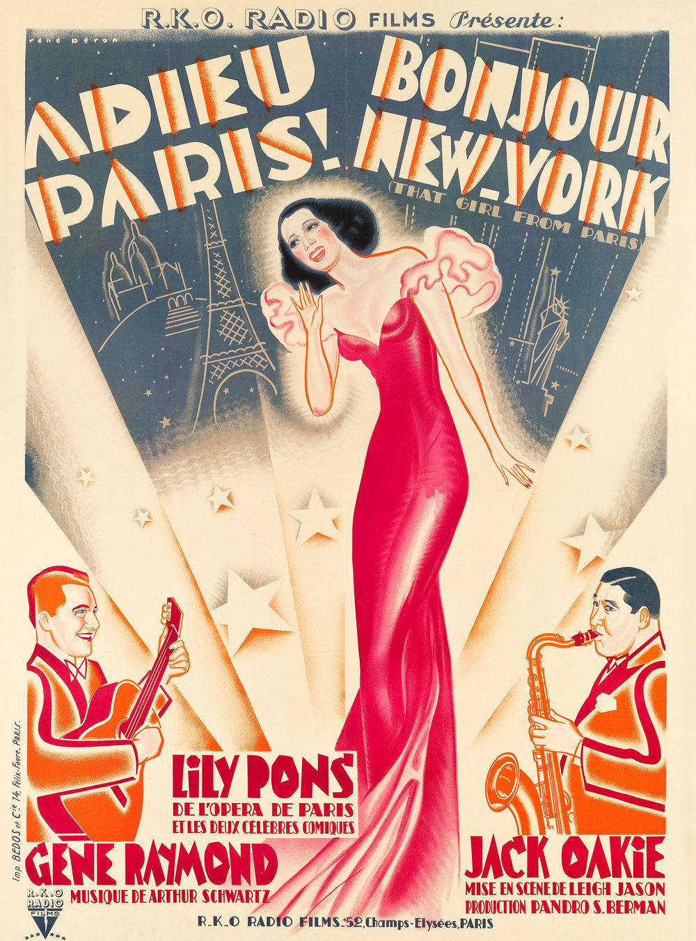 "That Girl from Paris (RKO, 1936). French Grande (46"" X 62.25""). ""Lily Pons plays a gorgeous French opera star who stows away on a ship to evade her overbearing fiancee. On board, she joins an American jazz group and falls for bandleader Gene Raymond. Artist Rene Peron evokes the sound of swing and sense of blossoming love on this charming French poster, a Heritage first. Only minor touchup to the folds can be noted. Very Fine+ on Linen. Estimate: $600 - $1,200.—H.A."