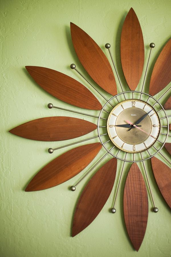 Vintage wood flower clock  via