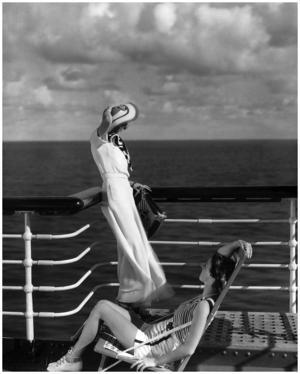 Bound for Hawaii, Edward Steichen photographs two models on the deck of the cruise ship liner Lurline, 1934 via