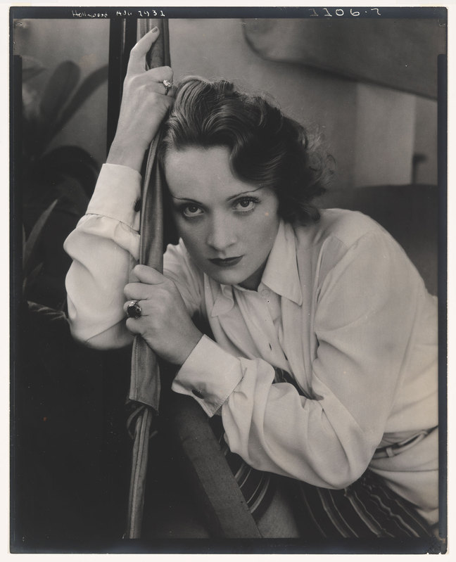 Edward Steichen (1879–1973), Marlene Dietrich, 1931. Gelatin silver print, sheet: 10 × 8 in. (25.4 × 20.3 cm). Whitney Museum of American Art, New York; gift of Richard and Jackie Hollander in memory of Ellyn Hollander 2012.234. Steichen/Vanity Fair; © 2014 The Estate of Edward Steichen/Artists Rights Society (ARS), New York via  the Whitney Museum