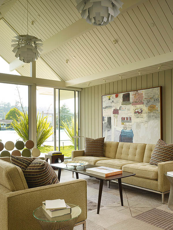 The living room overlooks a lagoon in Belvedere.