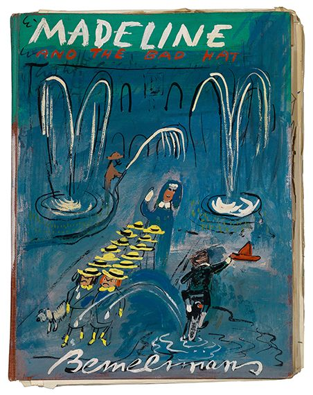 This is interesting, the dummy Cover for   Madeline and the Bad Hat  , ca. 1956/57.   Pen, ink, watercolor, and gouache   via The Estate of Ludwig Bemelmans  via