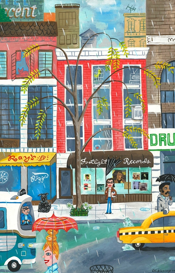 Footlight Records, Greenwich Village NYC c 1990s. 11x17 Gouache on wood panel.