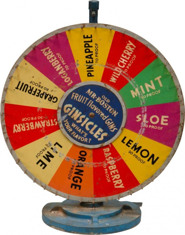 Vintage Prohibition-Era GINSICLES Roulette Wheel by Ben-Burk Inc