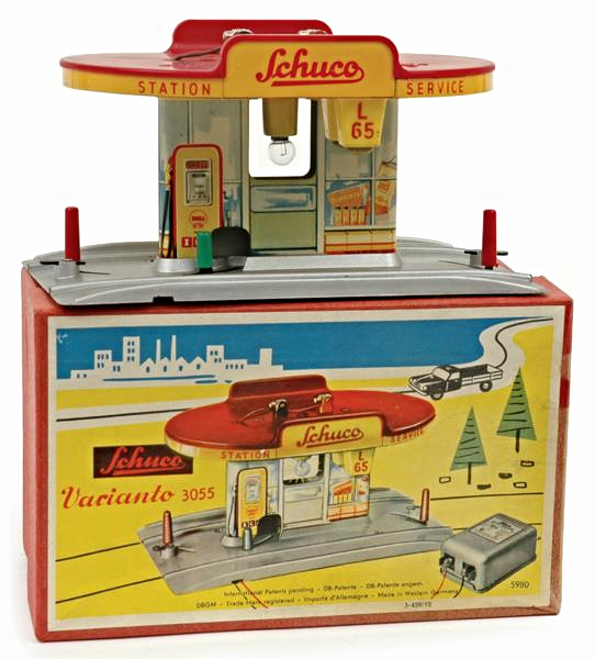 Schuco Varianto 3055 Elektro Service Station. West German, 1960s via carters.com