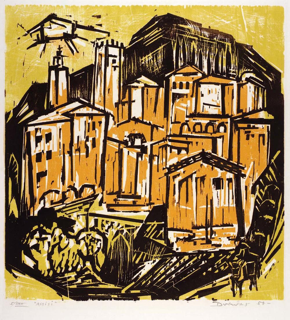 Assisi (no. 206)  wood cut, 1958