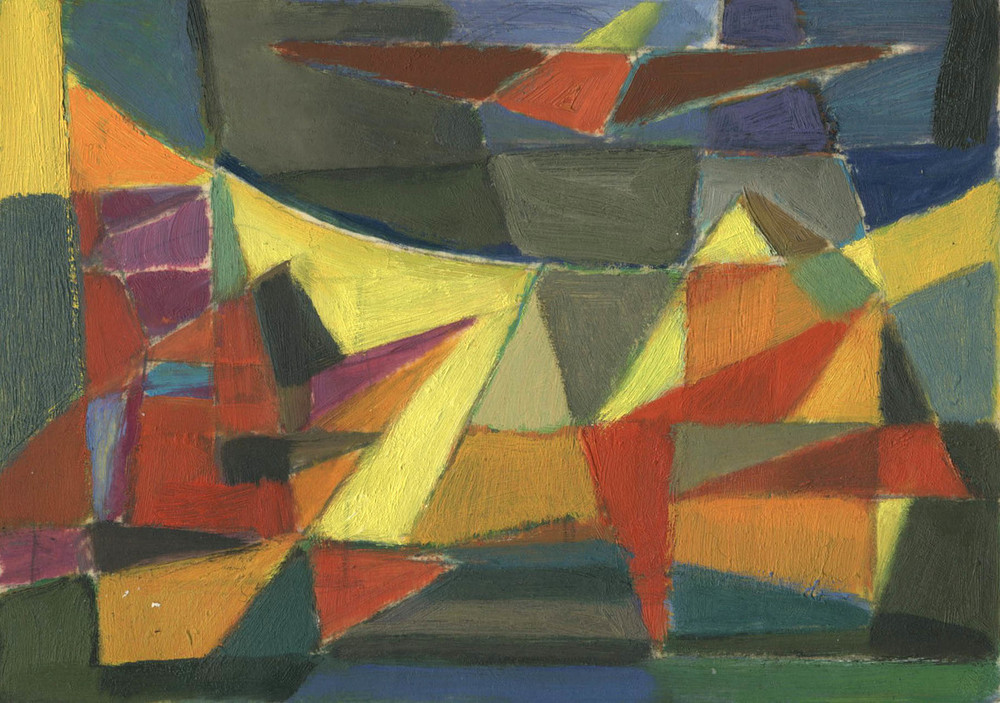 Contrasting Harmony, Werner Drewes, Oil on vellum, via Richard Norton Gallery