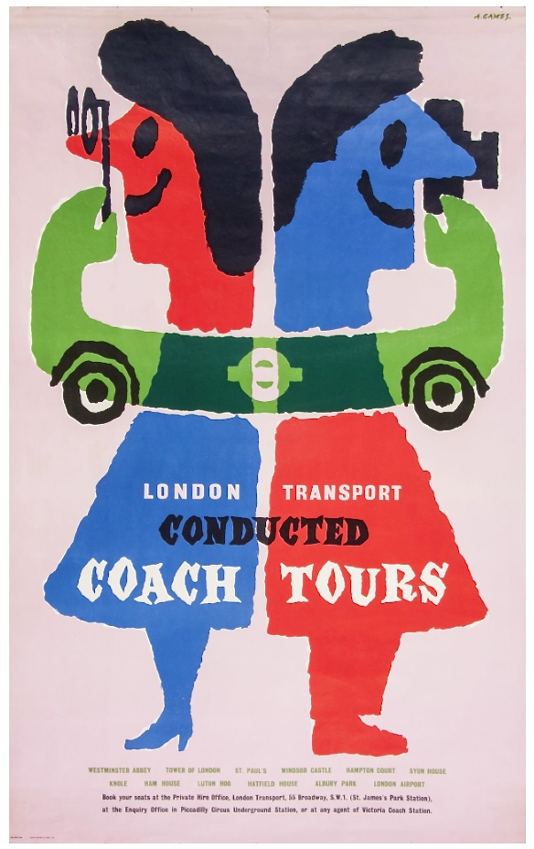 Abram  Games,  LONDON TRANSPORT, conducted coach tours lithograph in colours, 1960