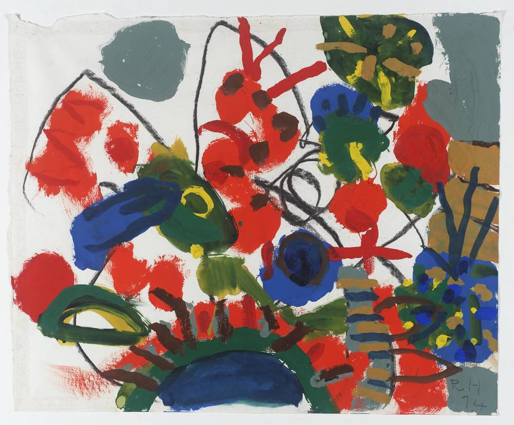 Roger Hilton Foliage with Orange Caterpillar 1974 via tate.org