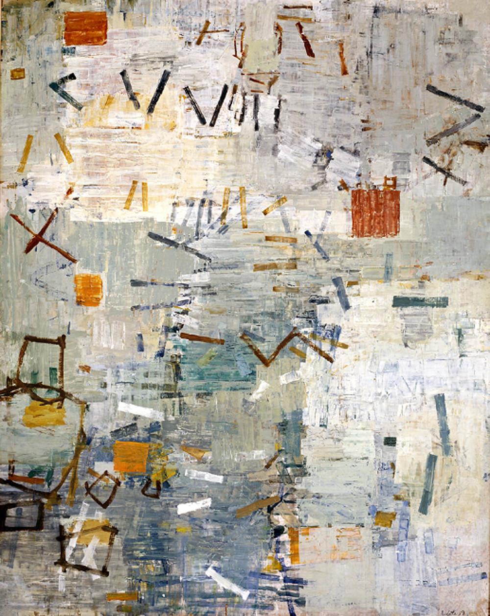 Il miracolo 1957-1958,oil on (composition board)(159.6 x 127.0 cm) via
