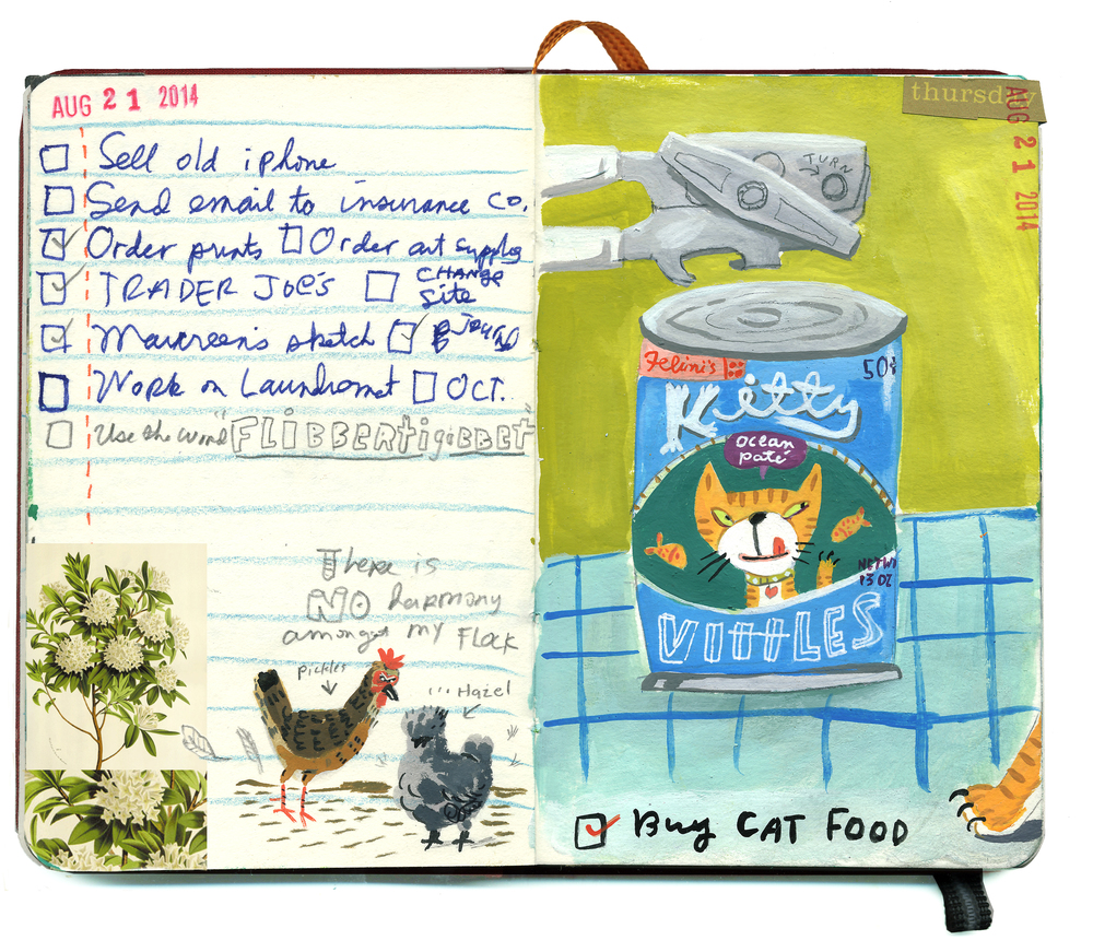 Flibbertigibbet, aka cat food for all! A painting in my journal