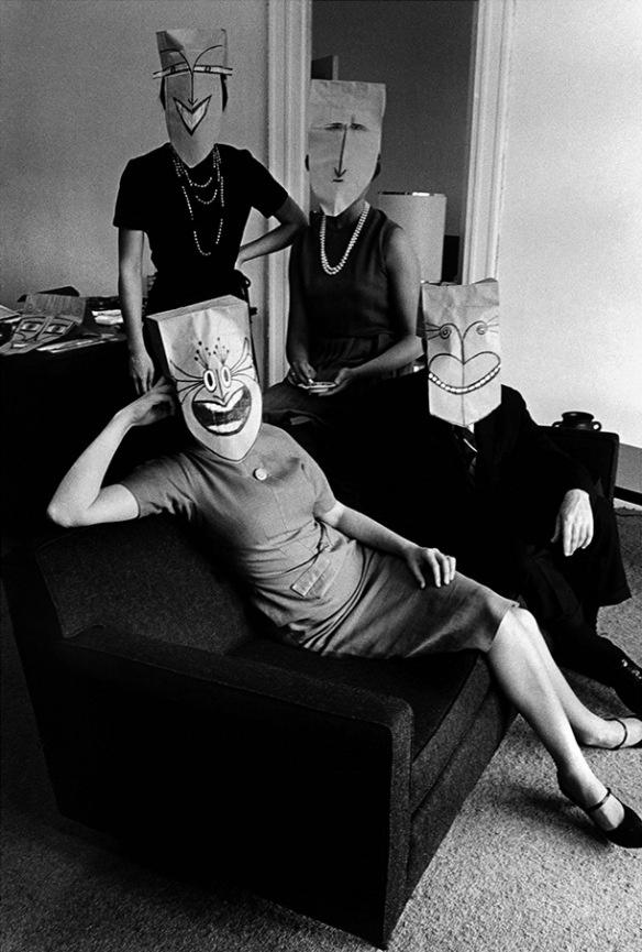 Photo by Inge Morath:Saul Steinberg Masks(c. 1960)