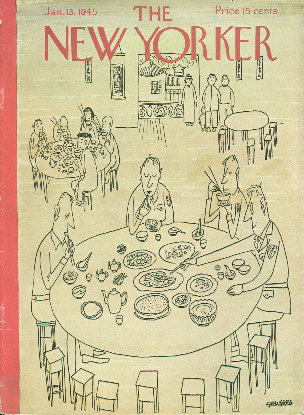 Steinberg's first published New Yorker cover. After immigrating to the United States, he enlisted in the army and was sent to China as an intelligence officer. via  The New Yorker
