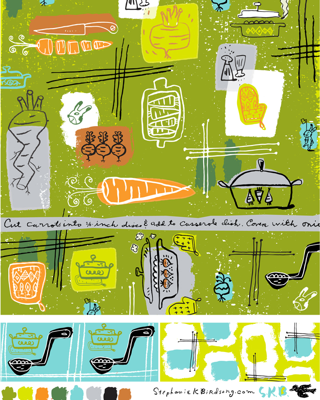 Some exploration in fabric design for a class I'm doing with Lilla Rogers Studio School.